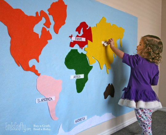 Kids Felt World Map, Montessori Continents with Labels