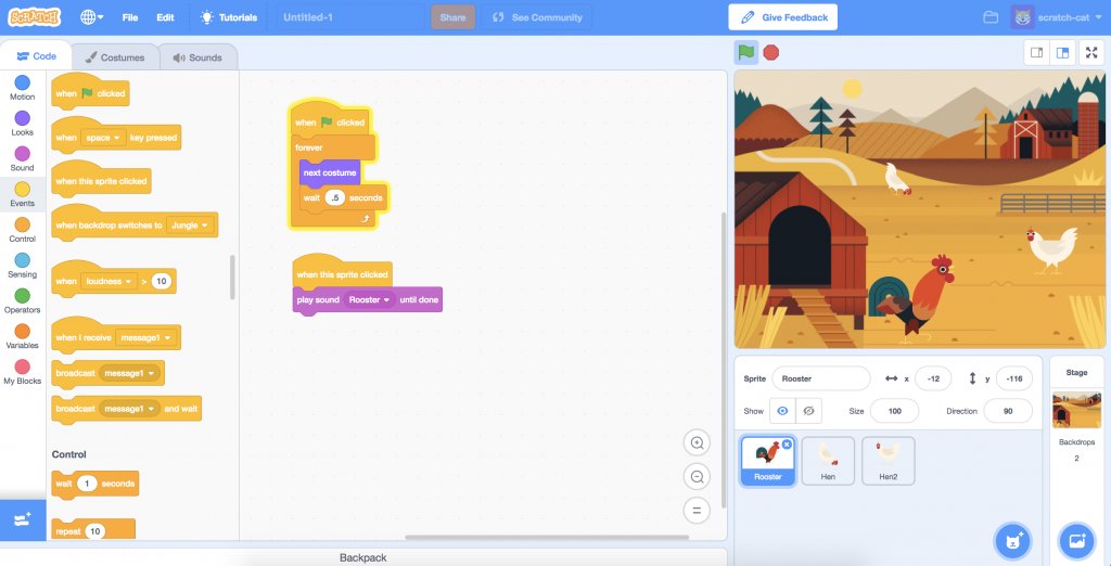Scratch (visual programming for kids)